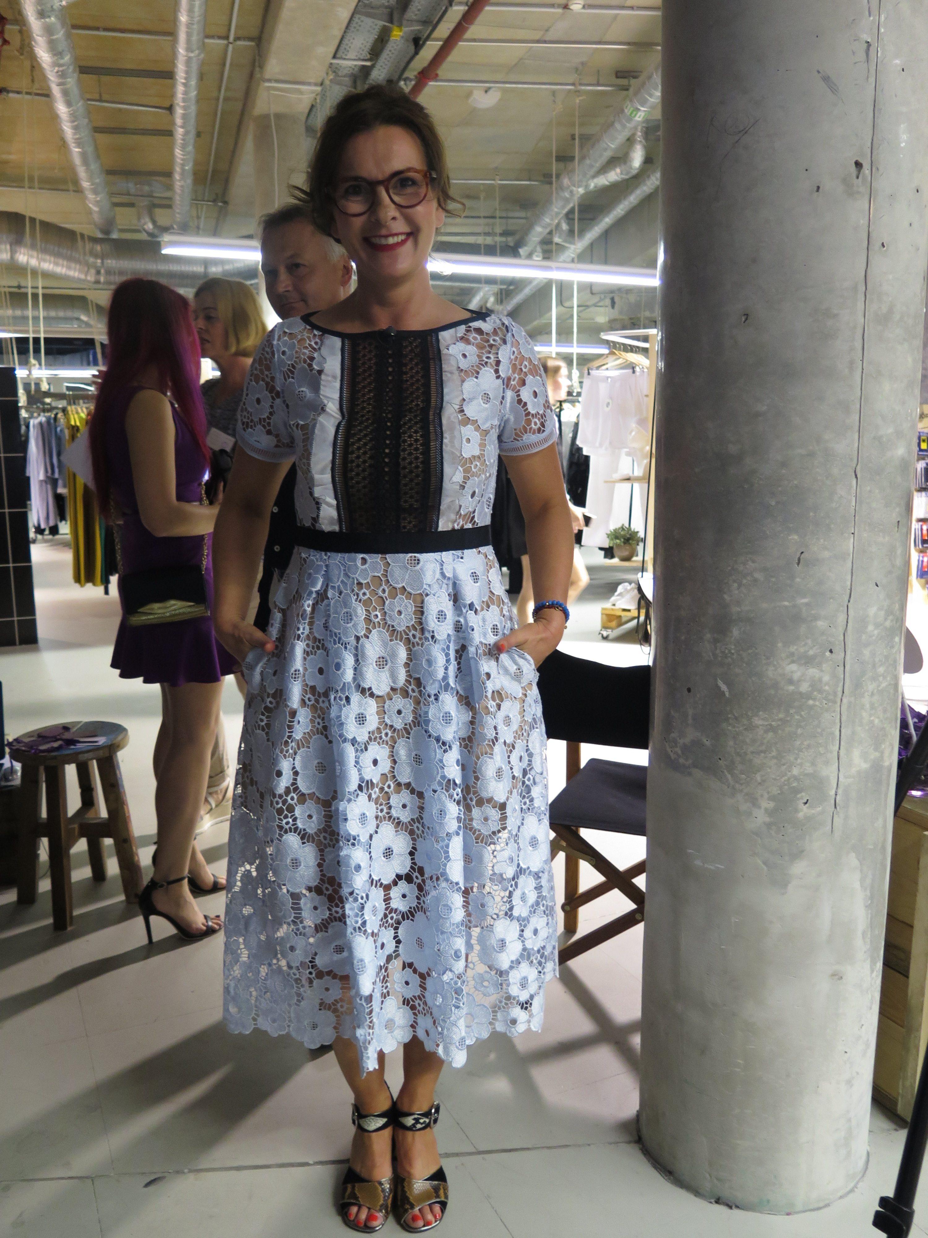 Blue Floral Applique Cut Out Midi Length Dress