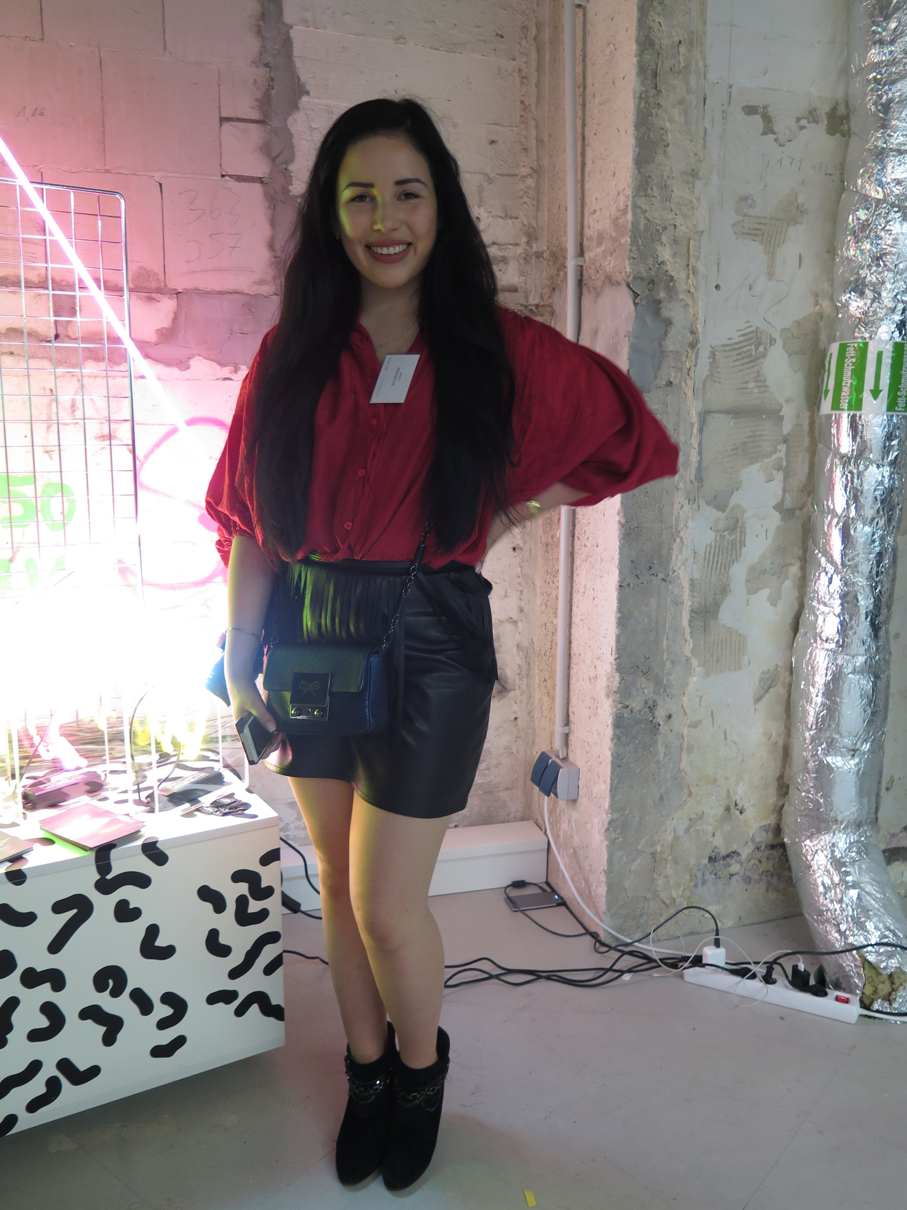 Red Blouse Black Leather Shorts