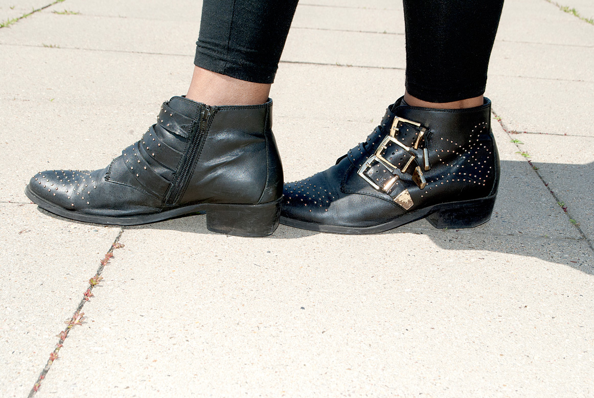 Black and Gold Studded Buckled Brogues