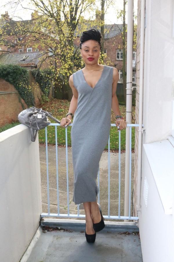 Grey long summer dress
