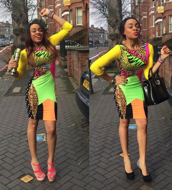 Neon print mini dress