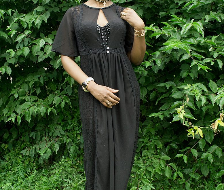 black maxi boho dress