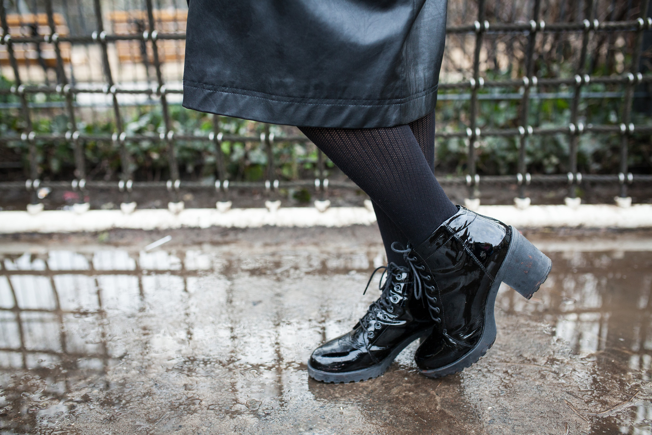 Patent lace up shoes