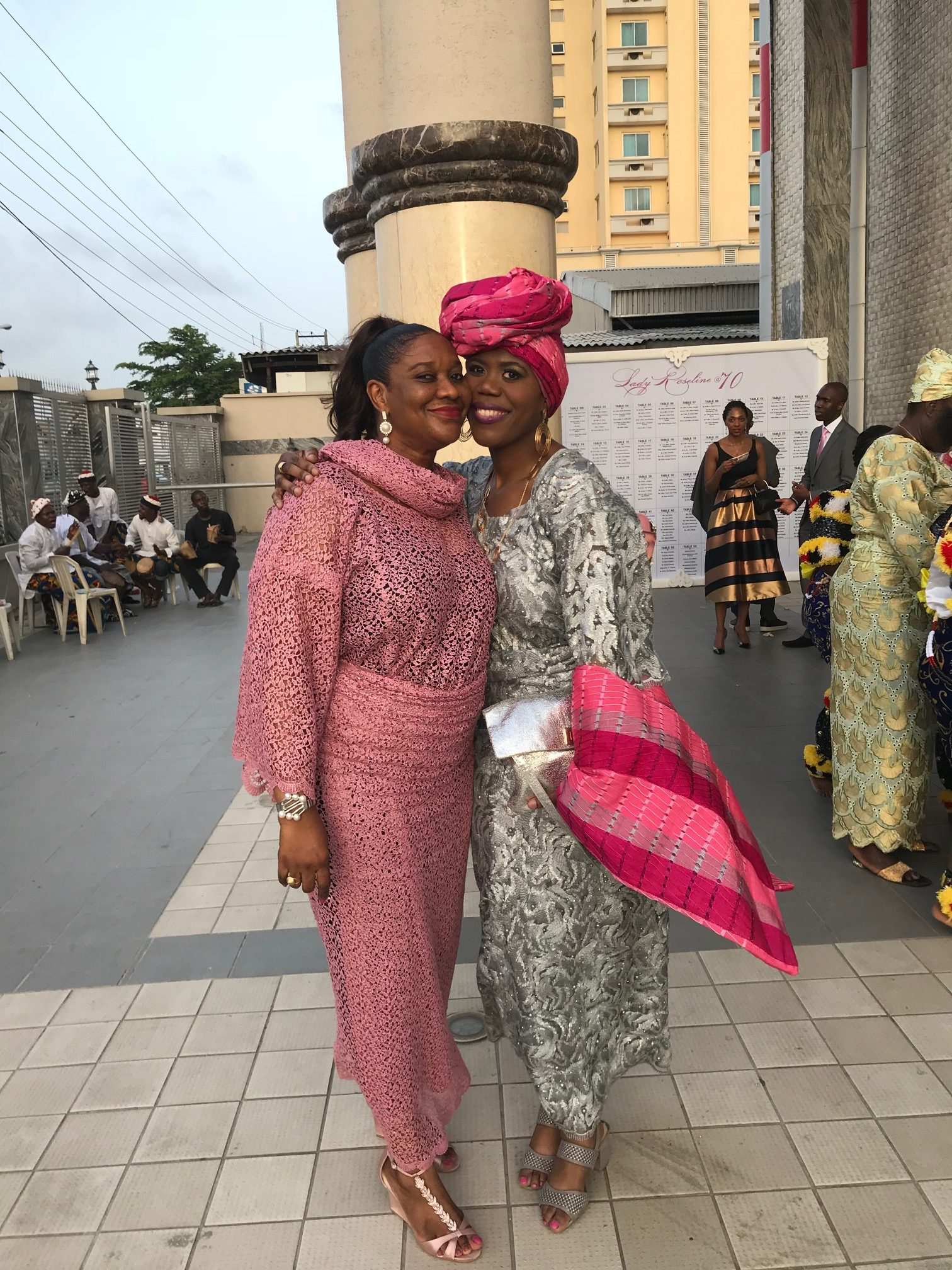 aso ebi styles lace pink and silver