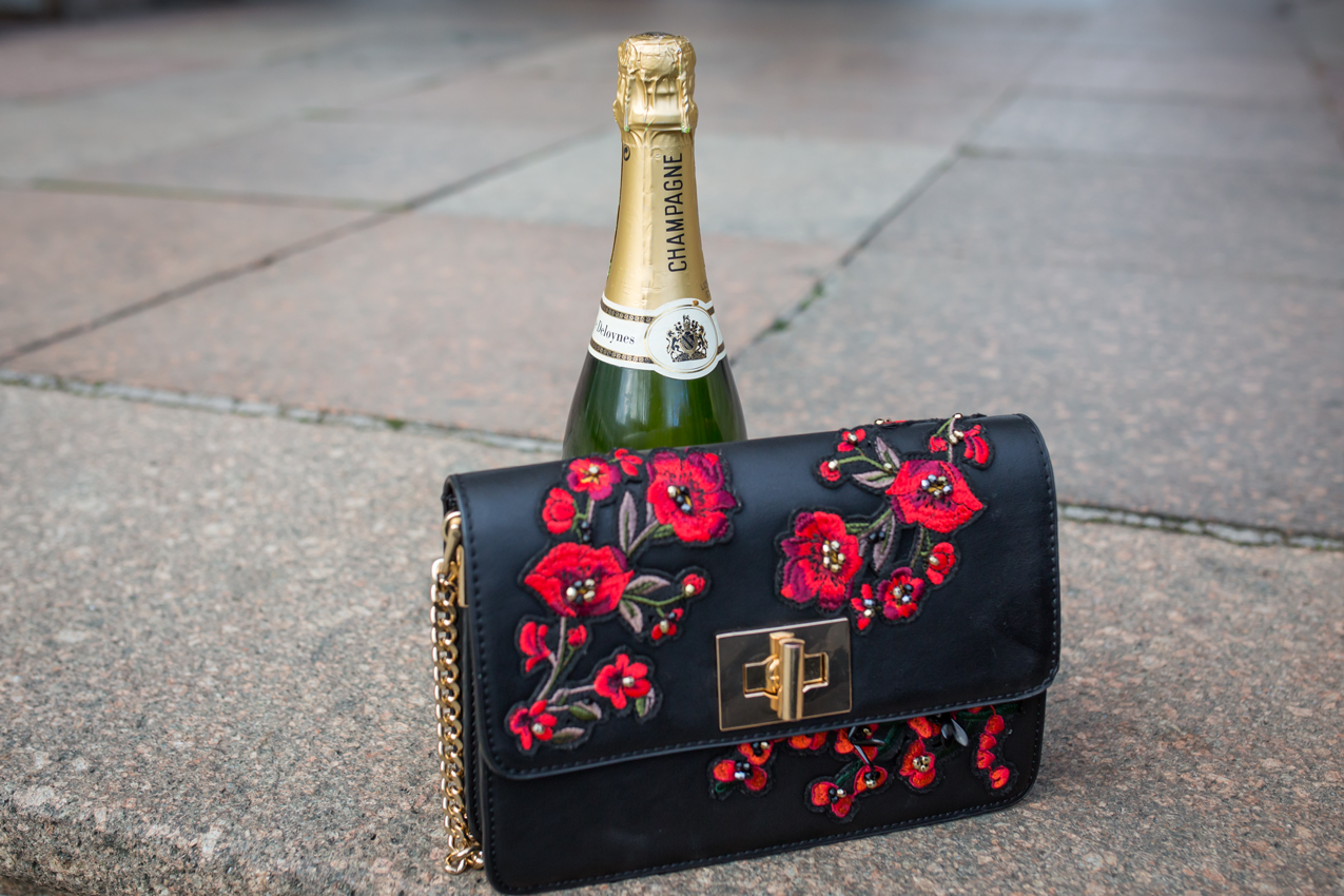 Floral embellished bag