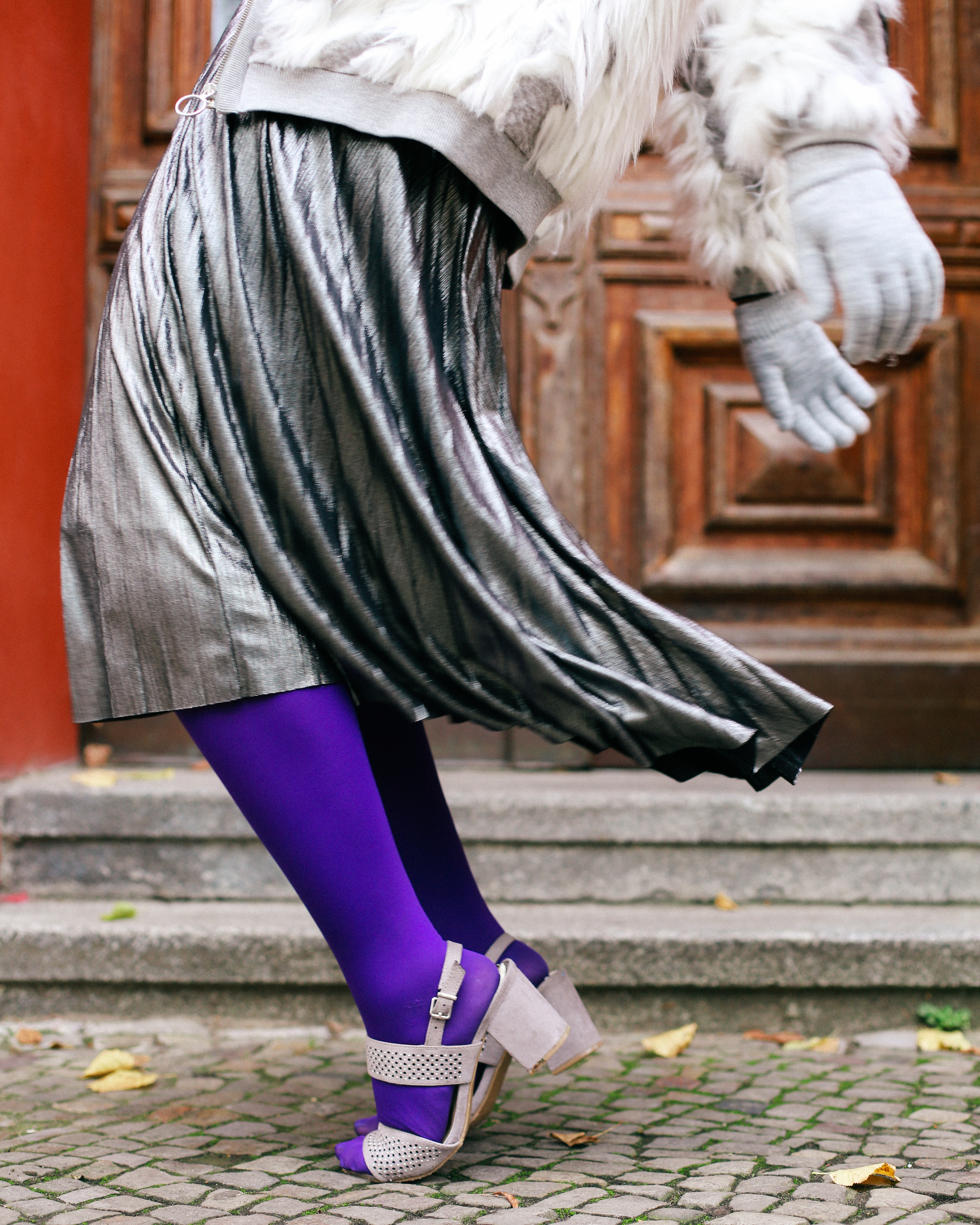 Purple tights and silver shoes