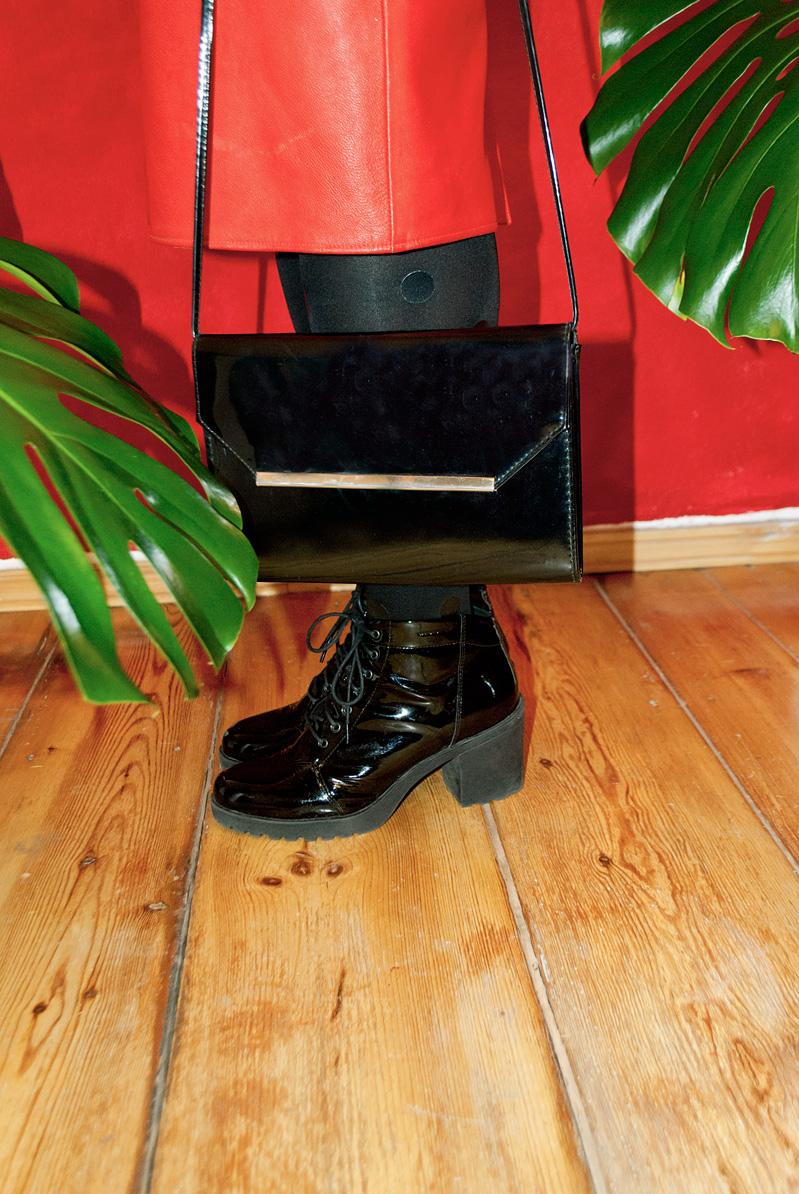 black patent bag