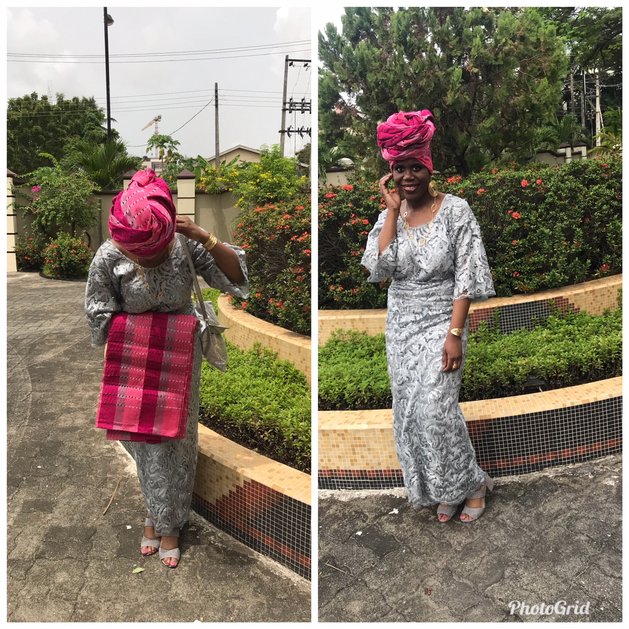 aso ebi pink and silver