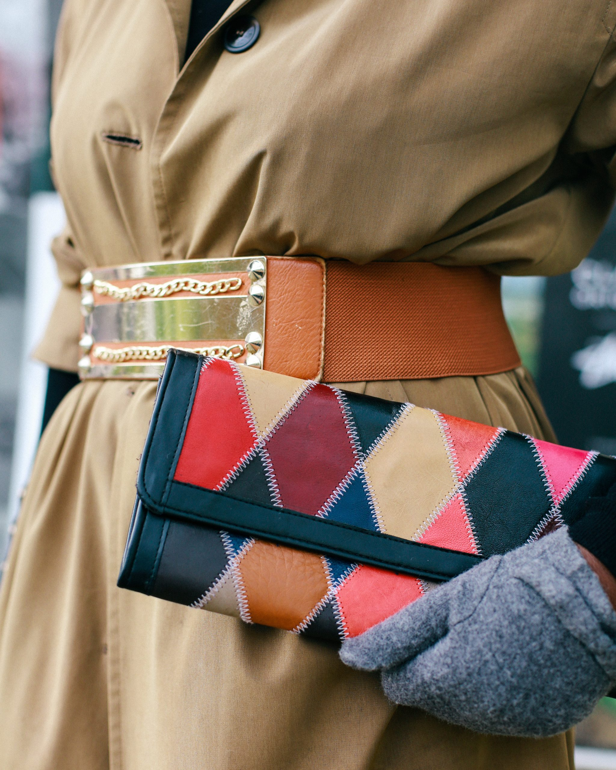 patchwork leather clutch