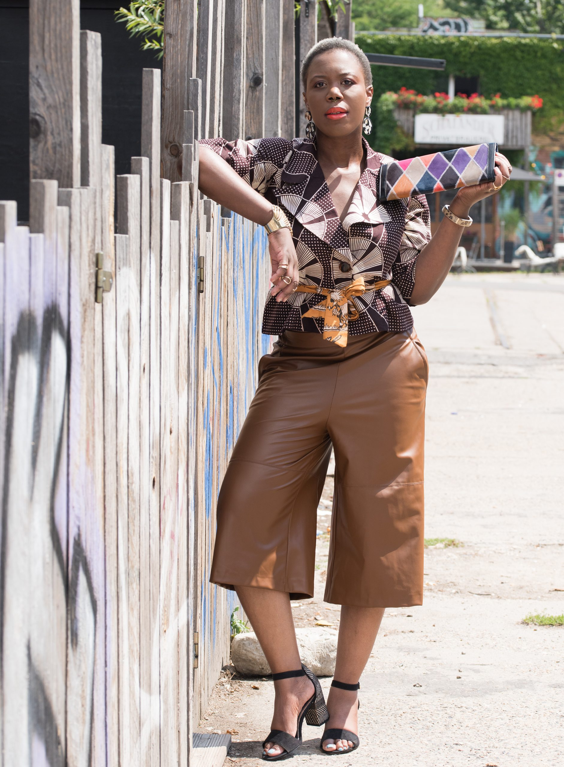 brown leather culottes