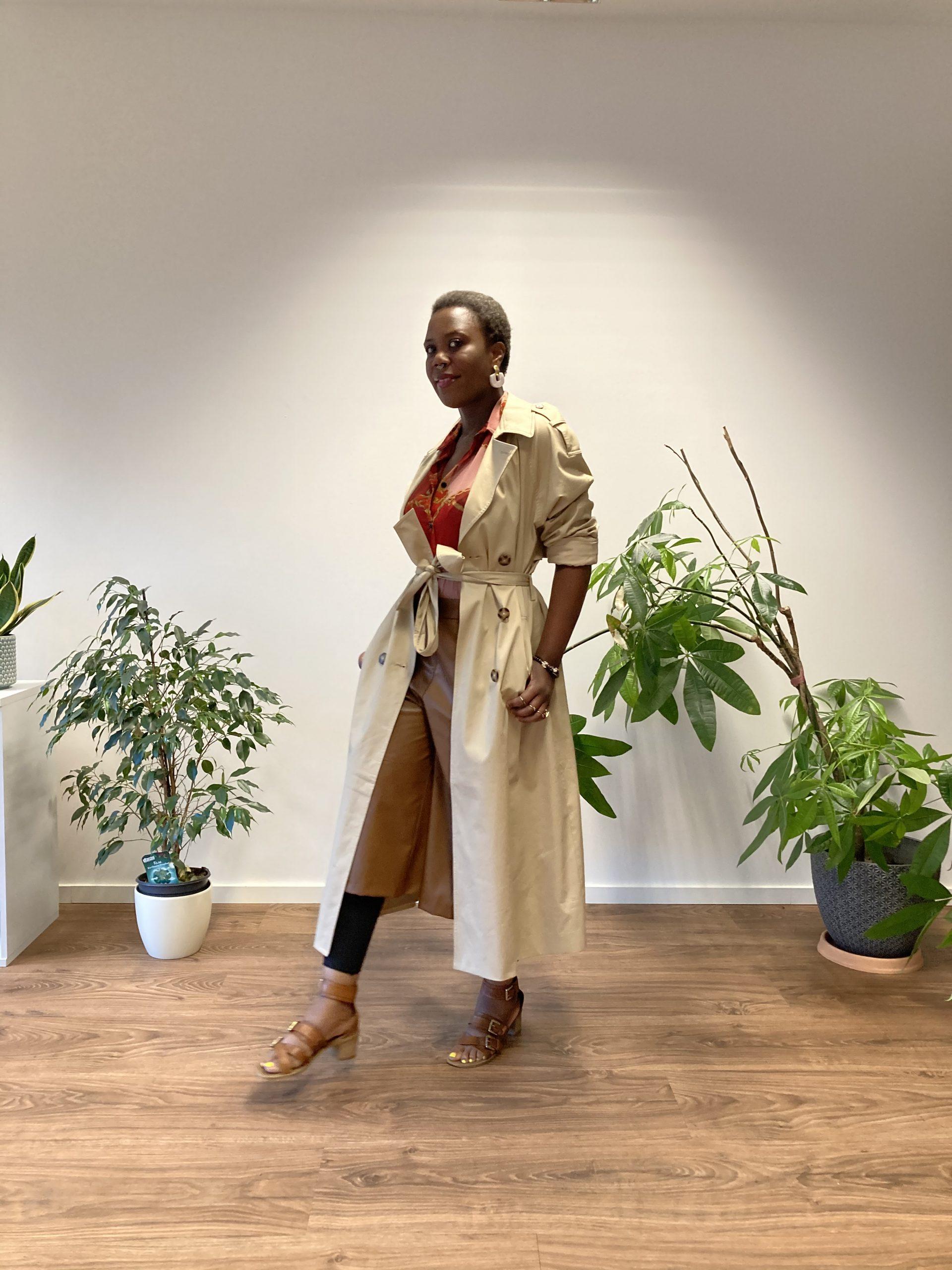 beige trench jacket