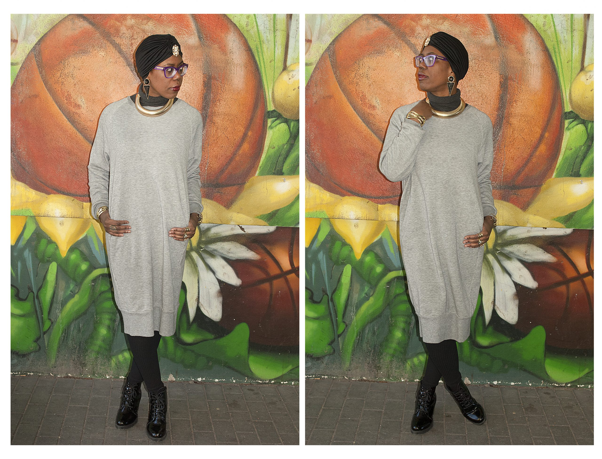 oversized grey jumper dress