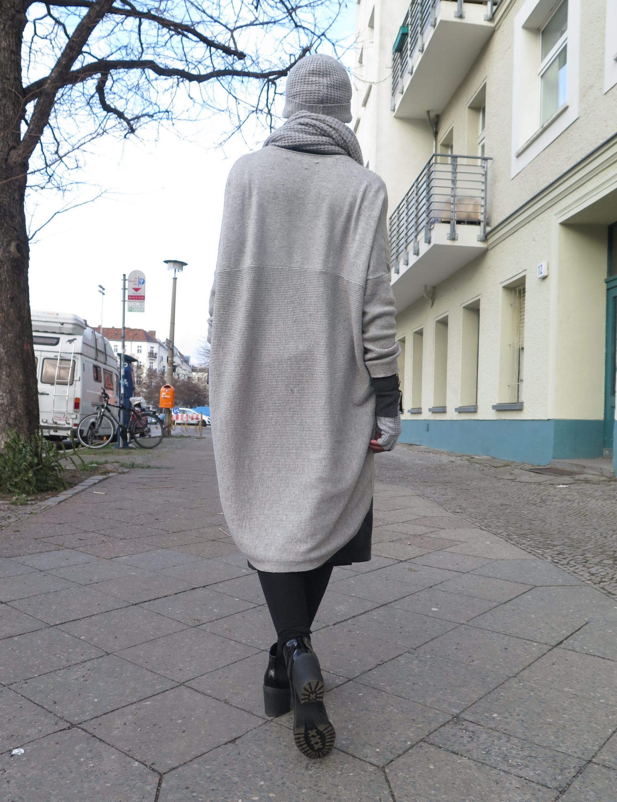 oversized grey knit cardigan