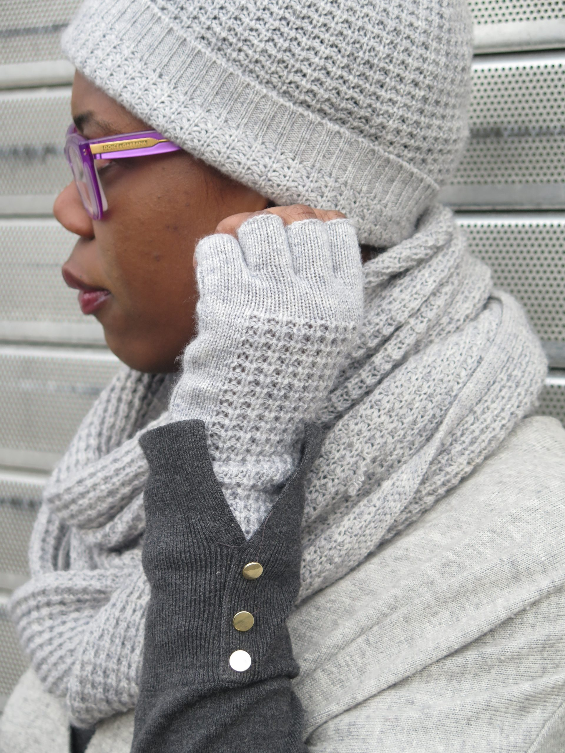 grey knit wool hat, scarf, and gloves