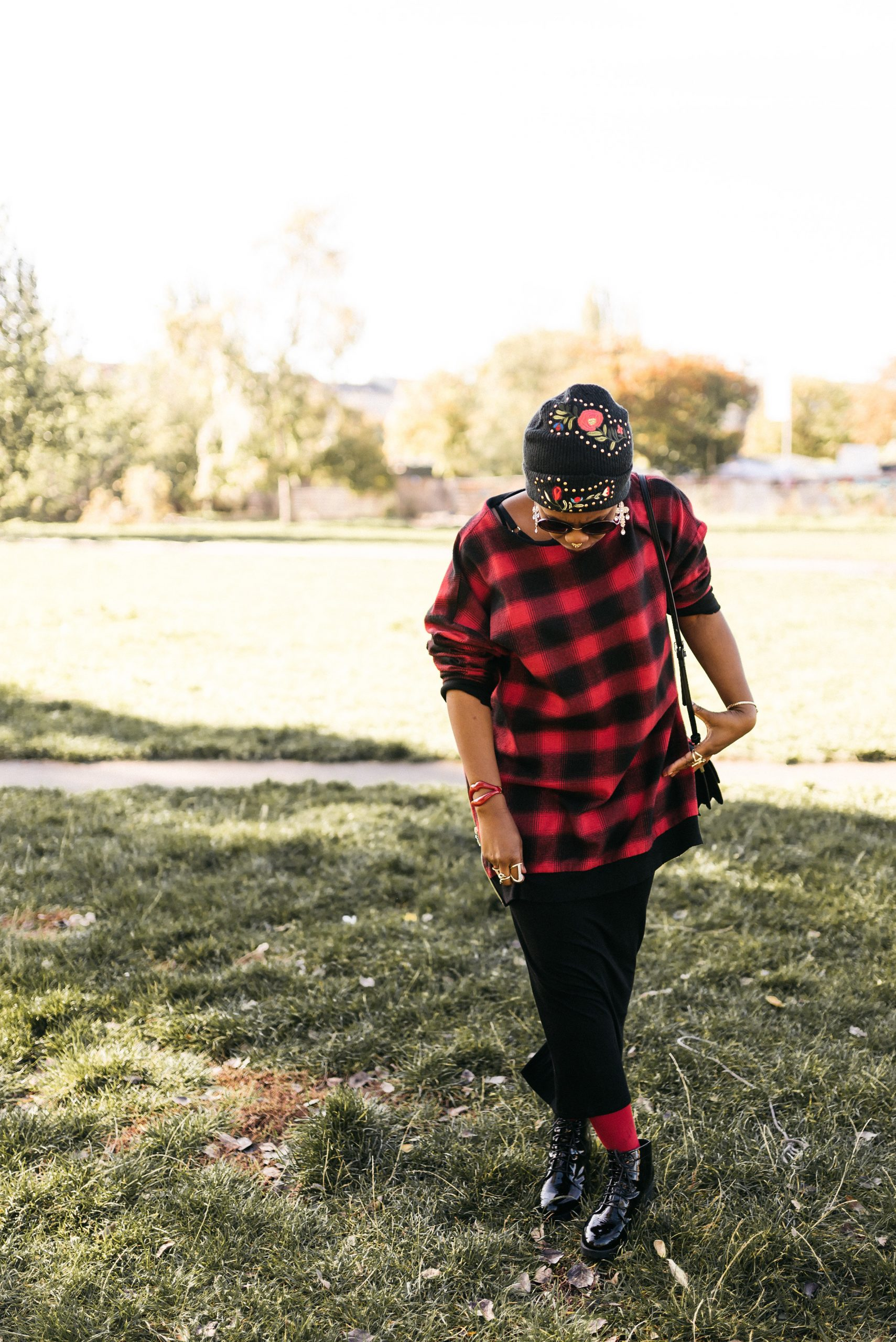 oversized black and red check sweater