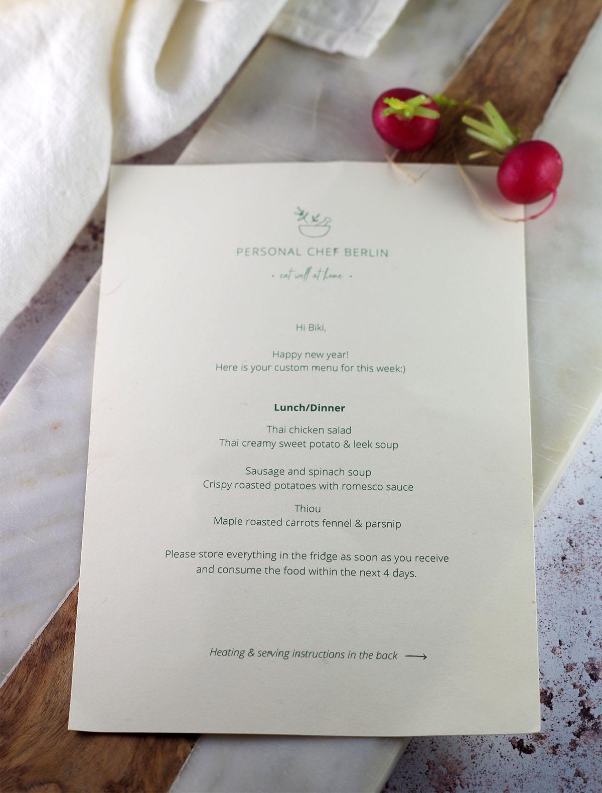 Meal prep menu