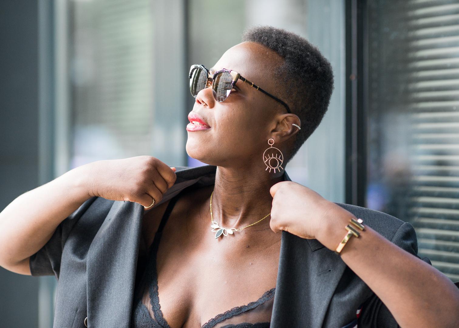 Black girl with 80s haircut