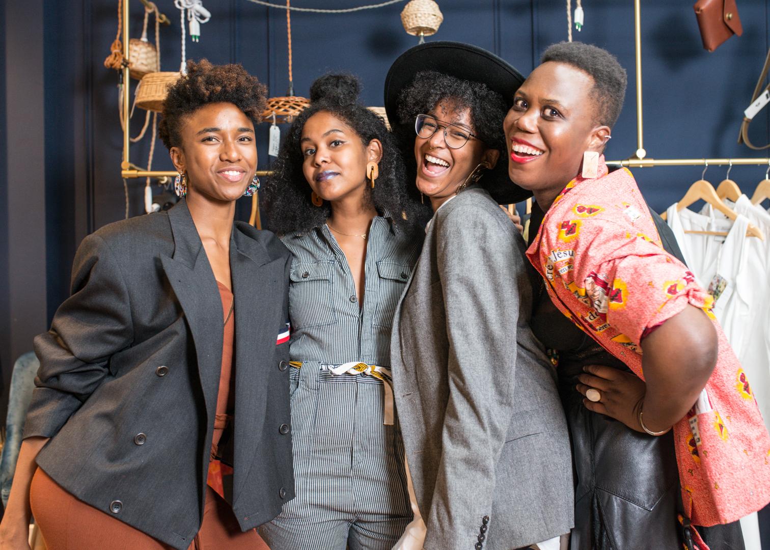 stylish black girls at fashion event
