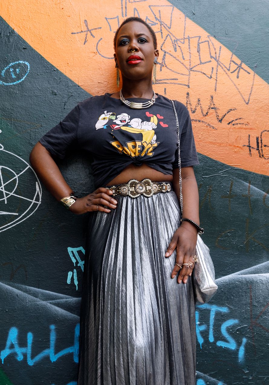 silver metallic pleated midi skirt
